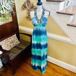Spense tye-dyed beaded halter maxi dress